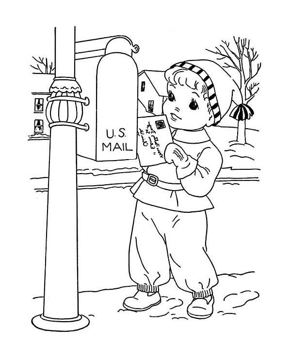Little Kid Mailing Santa on Winter Christmas Present Coloring Page ...