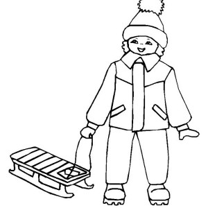 Little Kid with His Winter Sled Coloring Page