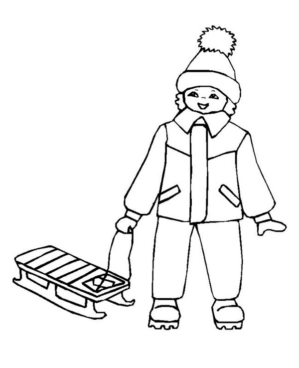 Little Kid with His Winter Sled Coloring Page Download Print