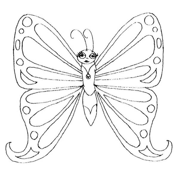 Lovely Butterfly Queen Coloring Page