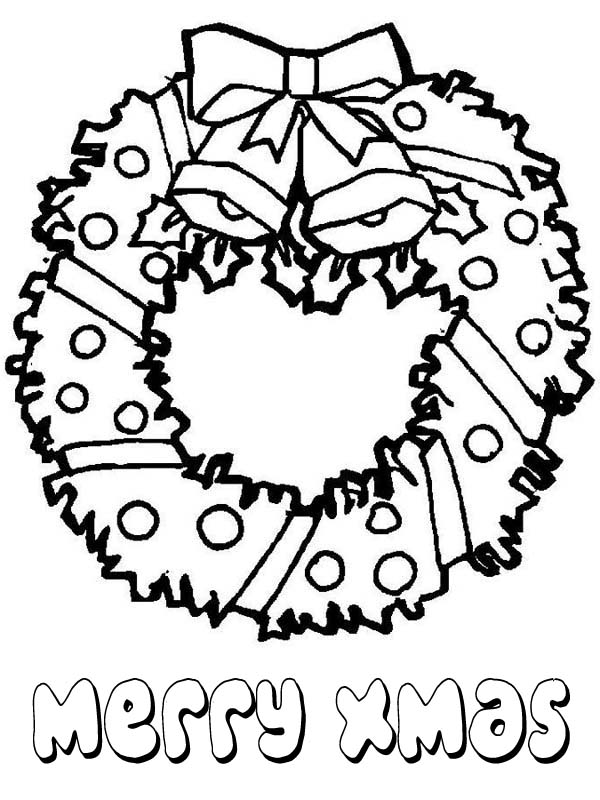 Christmas Lovely Wreath For Decoration Coloring Page