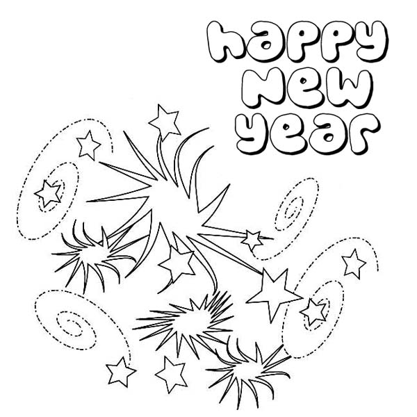 Lovely Swirling Firework on New Years Party Coloring Page