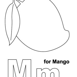 M Letter for Manggo Coloring Page