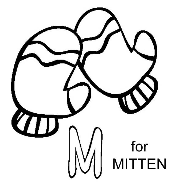 M Letter for Mitten Coloring Page  Download  Print Online