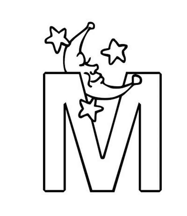 m letter for moon coloring page