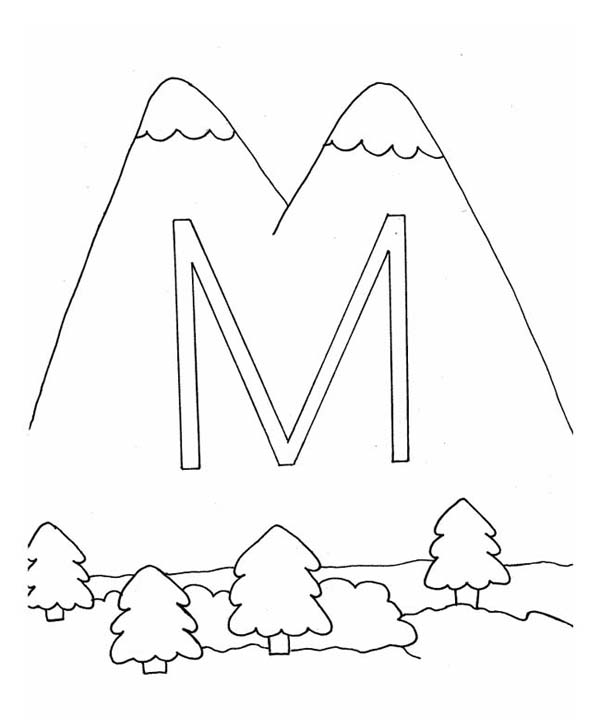 M Letter for Mountain Coloring Page - Download & Print Online ...
