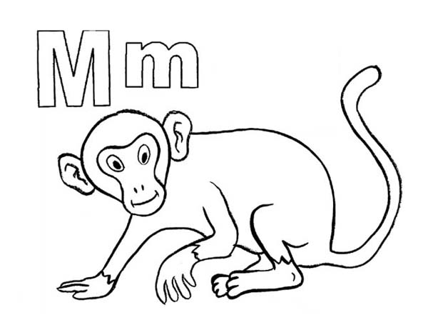 m for monkey coloring pages - photo #17