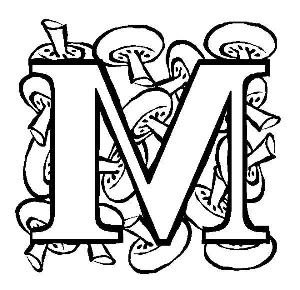 m letter for mushroom coloring page