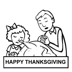 Making Pray and Thanks on Thanksgiving Day Coloring Page