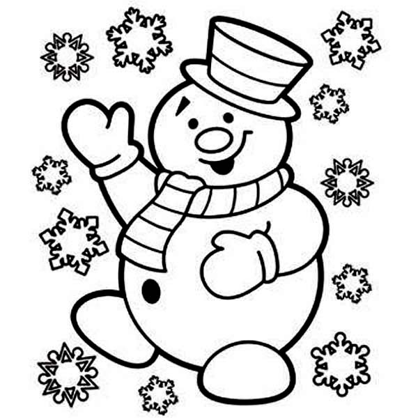 Mr Snowman is Very Happy for Christmas Coloring Page - Download ...