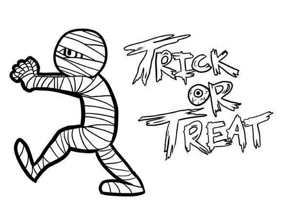 Mummy Trick or Treat Free Coloring Page Download Print Online