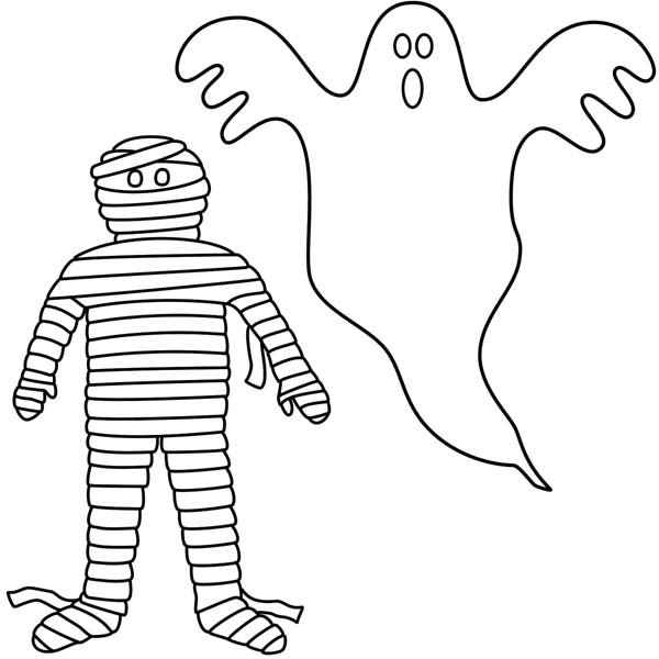Mummy And White Ghost Coloring Page Download Print Online Ghost Coloring Page