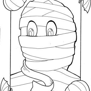 Mummy photo inside frame coloring page
