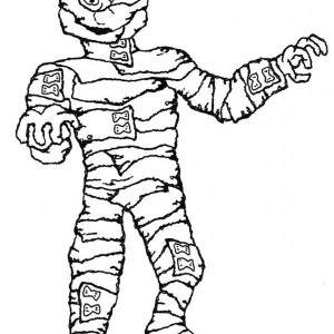 Mummy with Lots of Bandage Free Coloring Page