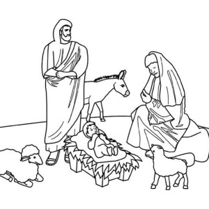 Nativity of Jesus on Christmas Day Coloring Page