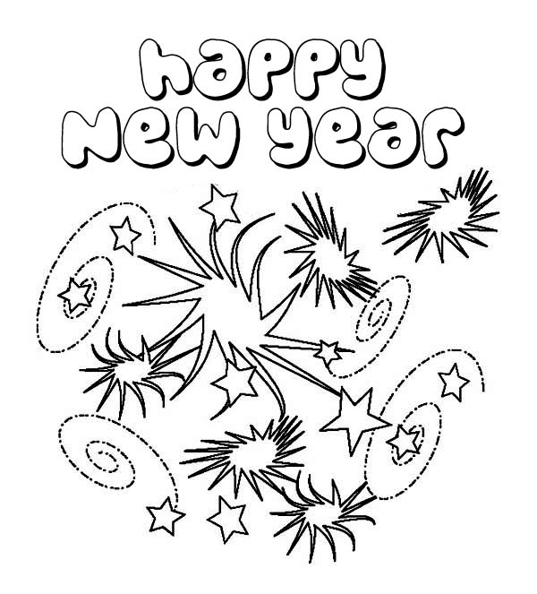New Years Eve with Lots of Fireworks Coloring Page Download