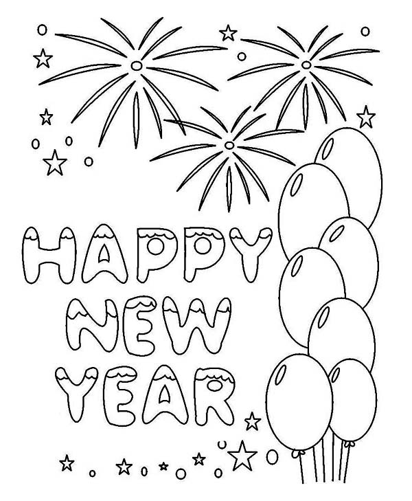 New Years Greeting Card Coloring Page - Download & Print Online ...