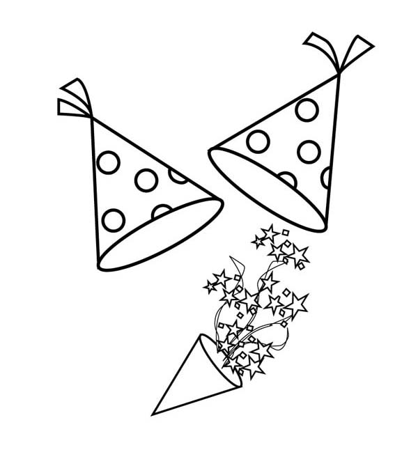 New years hat and blower for new years party coloring page for Coloring pages of birthday hats