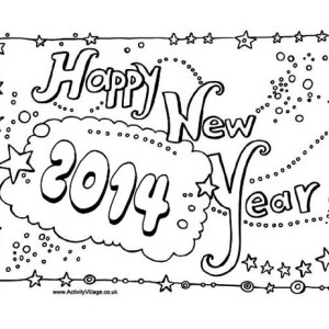 New Years Party Decoration for 2014 Coloring Page