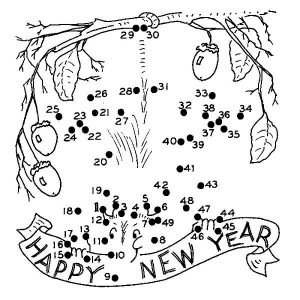 New Years Playing Paper Coloring Page