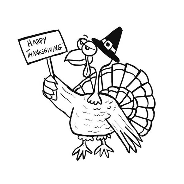 Old Turkey Says Happy Thanksgiving Day Coloring Page