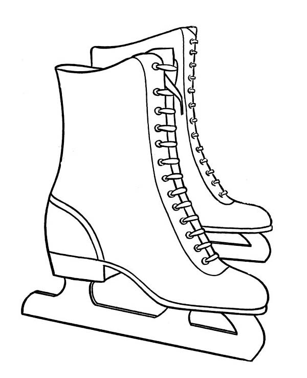Pair of nice winter skate boots coloring page download for Winter boots coloring pages