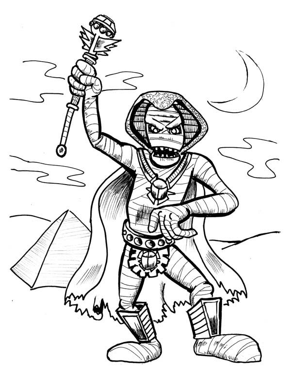 Pharaoh Mummy Free Coloring Page Download Print Online
