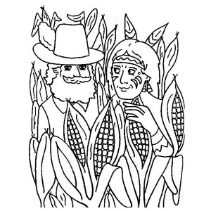 Pilgrim and Native American in Corn Field Thanksgiving Day Coloring Page