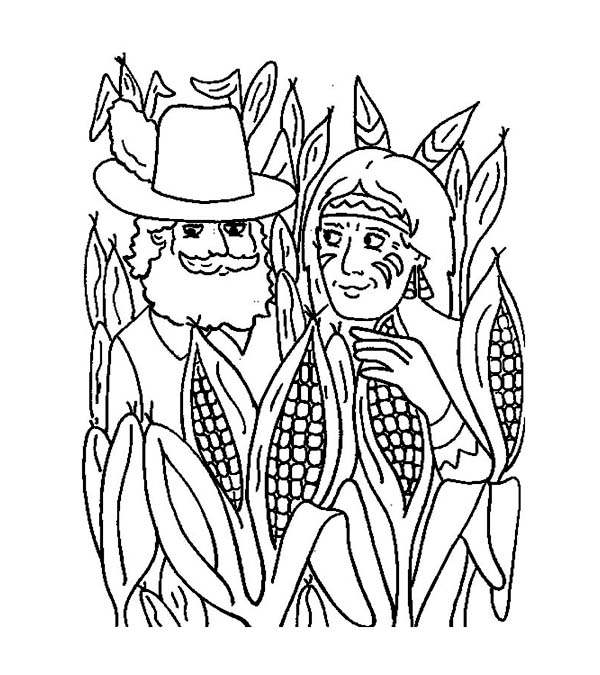 Pilgrim and Native American in Corn Field Thanksgiving Day ...