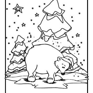 Polar Bear Wearing Santas Hat on Winter Coloring Page