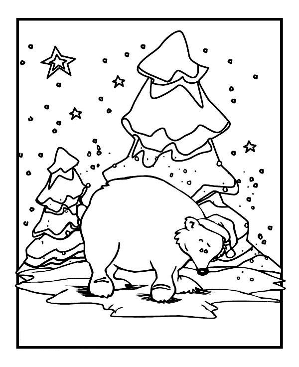 Polar Bear Wearing Santas Hat On Winter Coloring Page