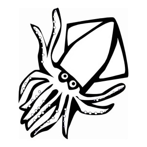 Red Devil Squid Sea Animals Coloring Page