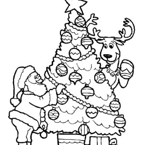 A happy merry christmas from santa coloring page a happy for Santa and reindeer coloring pages printable