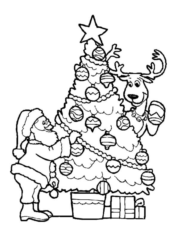 Santa Decorating Christmas Tree with the Reindeer Coloring Page