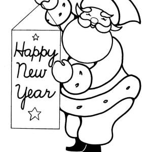 Santa Says Happy New Year Ho Ho Ho Coloring Page
