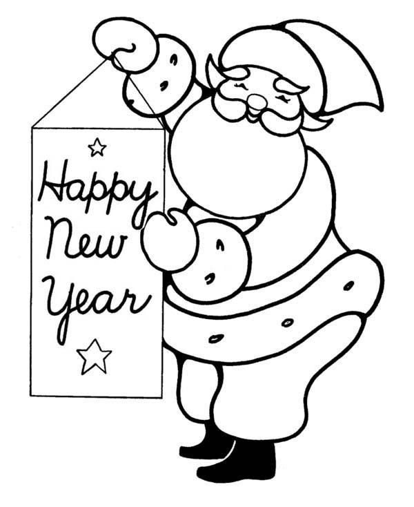 Santa Says Happy New Year Ho Coloring Page