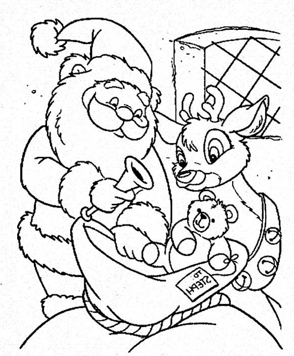 Santa and the Reindeer Putting Toys on the Christmas Sack Coloring ...
