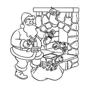 Santas is Coming Down from the Chimney Coloring Page