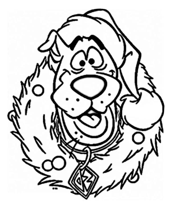 scooby wearing christmas wreath coloring page - Wreath Coloring Page