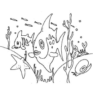 Sea Animals near Seabed Coloring Sheet