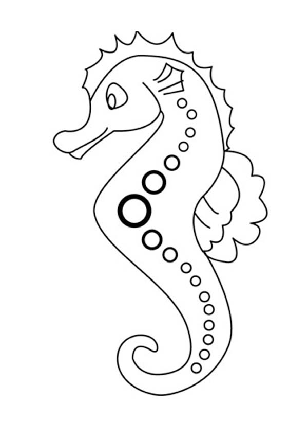 Seahorse with Dotted Line Art Patern Coloring Page  Download