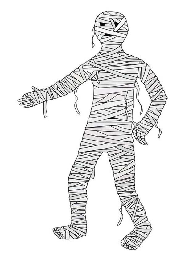 Mummy Shake Hand Coloring Page