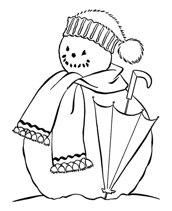 Snowman with Scraf and Umbrella Coloring Page - Download & Print ...