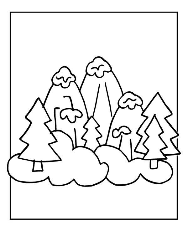 Snowy Winter Mountain Illustration Coloring Page - Download & Print ...