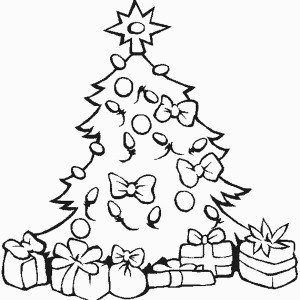 Stunning Christmas Tree with All the Ornaments and Gifts Coloring Page