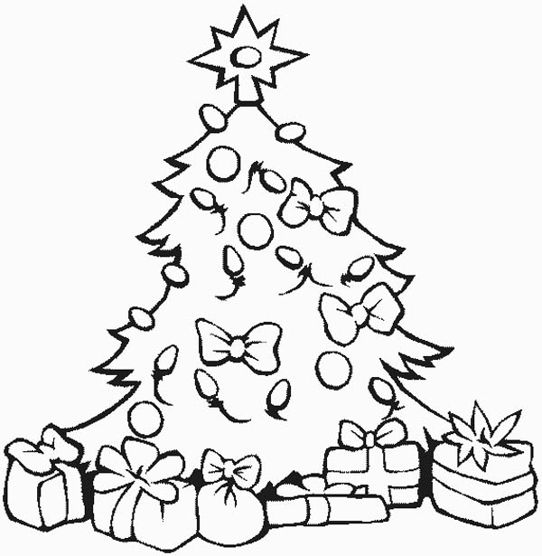 Christmas Stunning Tree With All The Ornaments And Gifts Coloring Page