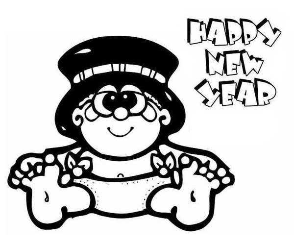 Sweet Baby New Year in Big Hat Coloring Page Sweet Baby New Year
