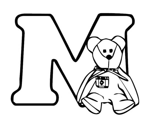 Teddy Bear with Letter M Coloring Page - Download & Print Online ...