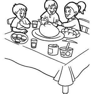 Thanksgiving Day Breakfast with Family Coloring Page