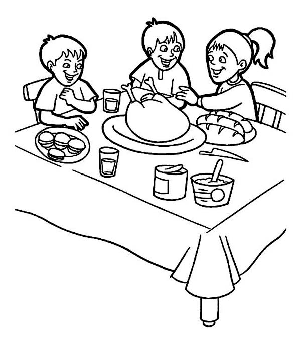 Thanksgiving Day Breakfast with Family Coloring Page Download